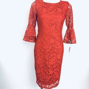 Gabby Skye Red Lace Women Dress. Size 6. New With